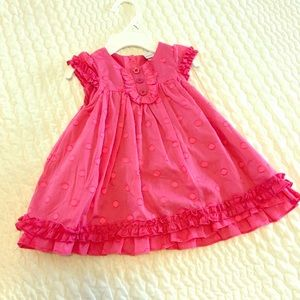Cutest Pink Raised Polka-Dot Dress, Sz 3-6Mo